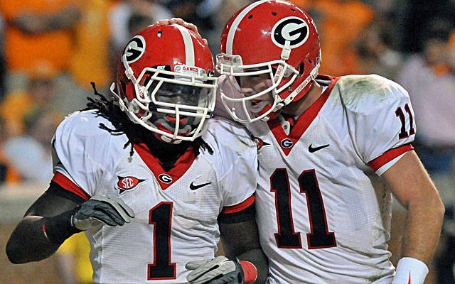 Isaiah Crowell (left), once a five-star recruit at Georgia, with Bulldogs quarterback Aaron Murray. (USATSI)