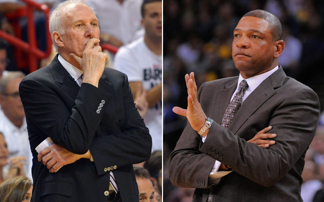 Doc Rivers (right) gave Gregg Popovich counsel on dealing with a Game 7 loss.  (USATSI)