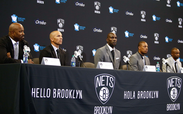 The Nets introduced Kevin Garnett, Paul Pierce and Jason Terry on Thursday.  (USATSI)