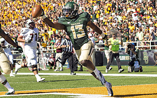 Baylor safety Terrell Burt returns an interception for a touchdown during the first half against La.-Monroe. (USATSI)