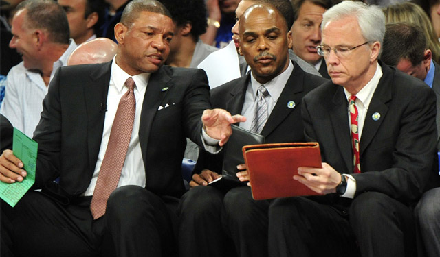 Doc Rivers (left), Armand Hill (center), and Kevin Eastman are still coaching together. (USATSI)