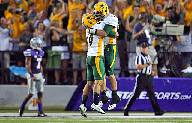 North Dakota State QB Brock Jensen (right) celebrates a TD with Ben LeCompte as the Bison stun K-State. (USATSI)