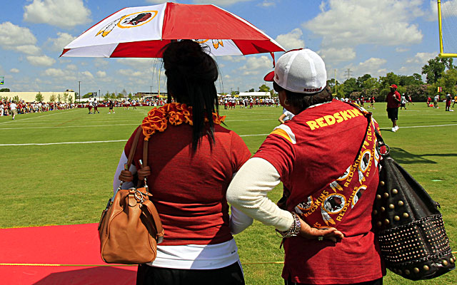 Jackie Griffin (left) watches Redskins practice with Robert Griffin III's grandmother, Juley Allen.  (USATSI)