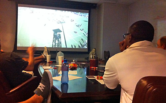 OC Clarence McKinney and the Aggies staff spend hours watching film prior to Alabama. (CBSSports.com)