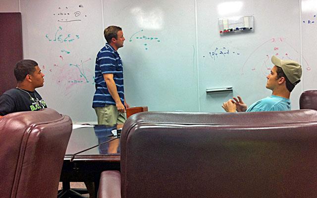 Aggies assistant coach Jake Spavital prepares backup quarterbacks Kenny Hill and Matt Joeckel. (CBSSports.com)
