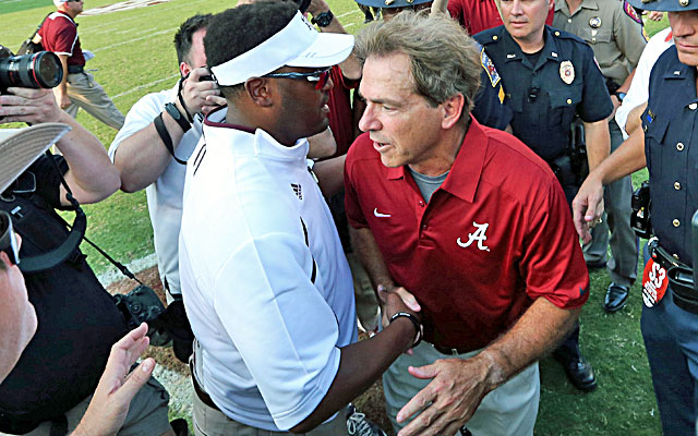 After the game, Nick Saban tells Kevin Sumlin, 'You took 10 years off my life.' (USATSI)