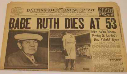 Image result for the death of babe ruth