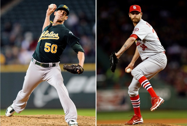 Grant Balfour (left) and John Axford are on Baltimore's radar.