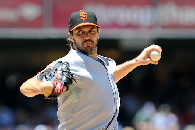 Barry Zito will be doing this out of the Giants' bullpen for the time being. (USATSI)