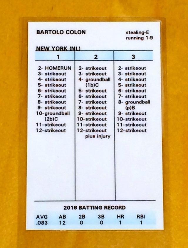 Look Strat O Matic Cards For Slugger Bartolo Colon Walker Bryce