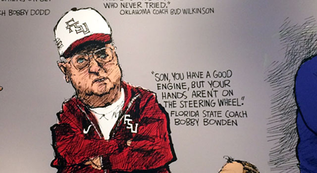 Atlanta Journal-Constitution cartoonist Mike Lukovich drew famous coaches with a quote by them. (Provided)