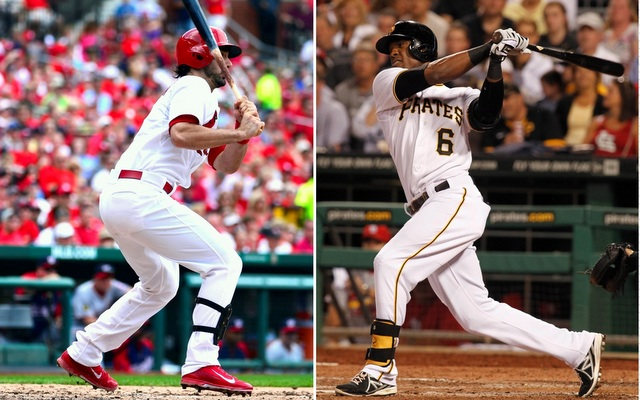 Matt Carpenter (left) and Starling Marte are leading off for their respective teams on Friday.