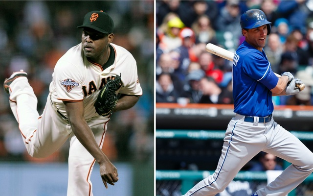 The Giants added both Santiago Casilla (left) and Jeff Francoeur to the team on Saturday.