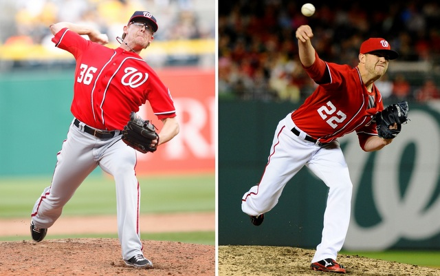 Tyler Clippard (left) says Drew Storen has been mishandled by the Nationals.