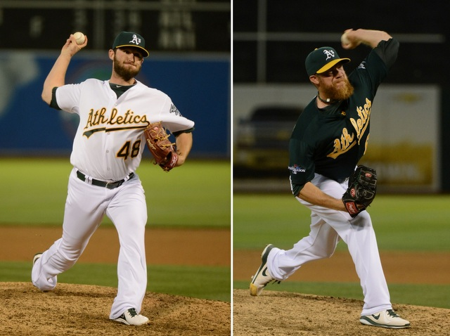 Both Ryan Cook (left) and Sean Doolittle are dealing with injuries early in camp.