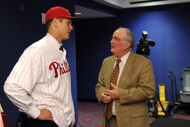Health issues are forcing Phillies president David Montgomery (right) to step aside for the time being. (USATSI)