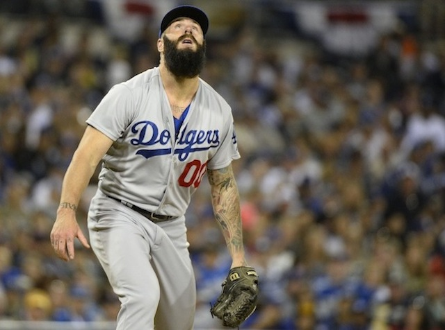 Brian Wilson of the Dodgers didn't enjoy his finest outing on Sunday. (USATSI)