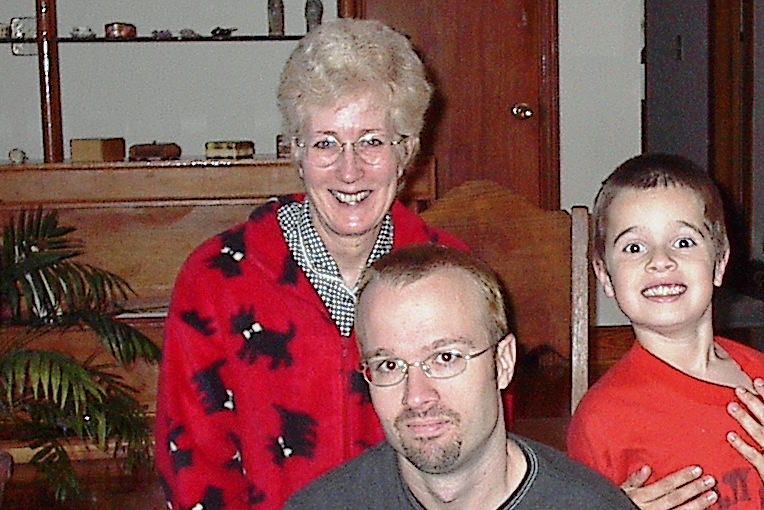 Mom with me and my son, Macon, in 1995. (Gregg Doyel photo)