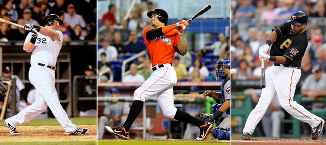 Adam Dunn (left), Giancarlo Stanton (center) and Pedro Alvarez all have a place in my Home Run Derby. (USATSI)