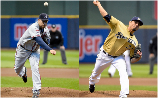 The hits were hard to come by in Milwaukee on Wednesday, thanks to Aaron Harang (left) and Matt Garza. (USATSI)