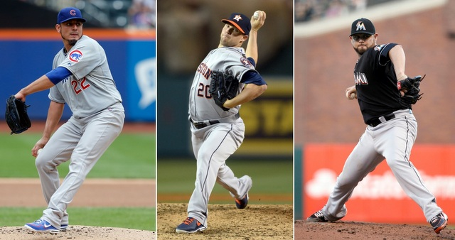 Matt Garza (left), Bud Norris (center) and Ricky Nolasco are three of the best available starters. (USATSI)