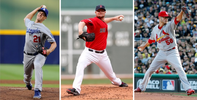 Zack Greinke (left), Jon Lester (center) and Joe Kelly will all start Game 1 of their LCS.