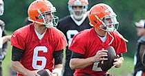Brian Hoyer, Johnny Manziel (USATSI)