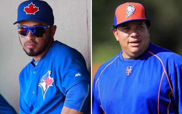 Maicer Izturis (l.) has retired, so Bartolo Colon is the last remaining Expo.