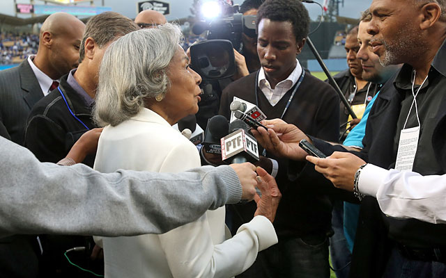 Rachel Robinson, 90, speaks to the media on a day that belongs to her and the late Jackie Robinson. (Getty)