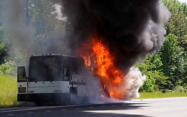 The Jackson State baseball team's bus caught fire on Monday.
