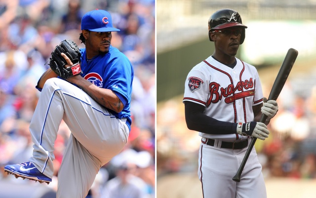 Edwin Jackson (l.) and B.J. Upton were being discussed in a trade in July.