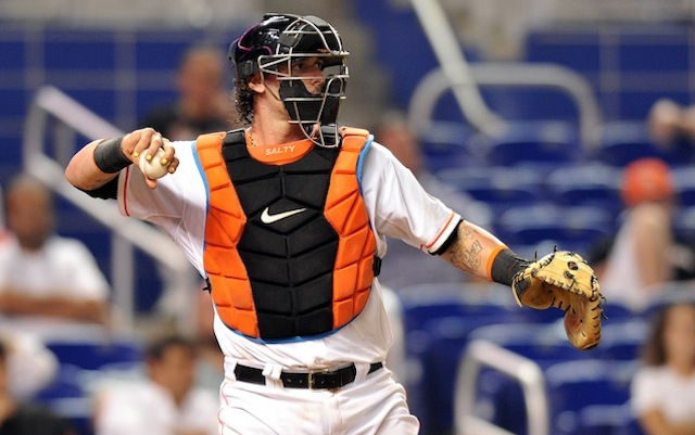 The Marlins will be without catcher Jarrod Saltalamacchia for at least the next week. (USATSI)