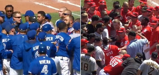 The benches cleared in Toronto and Cincinnati on Sunday.