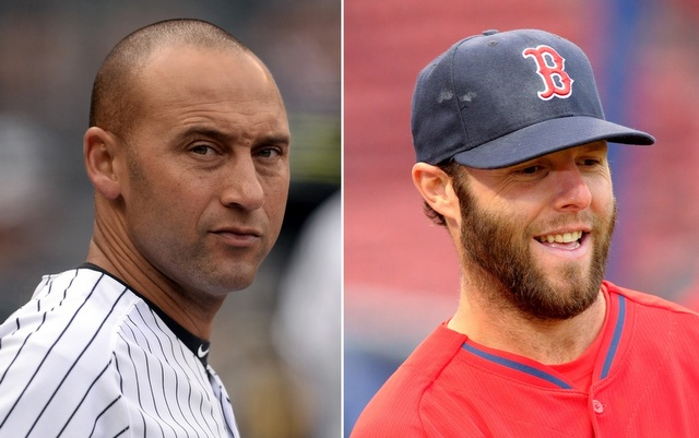 Derek Jeter (l.) and Dustin Pedroia will not play in Sunday night's series finale.