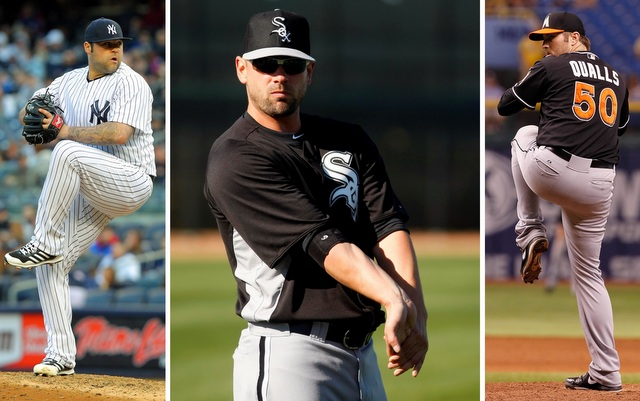 (From left) Joba Chamberlain, Jesse Crain and Chad Qualls could all be options for the Giants. (USATSI)