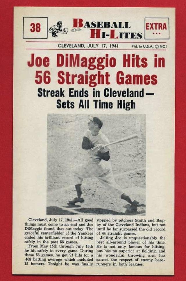 Happy birthday, end of Joe DiMaggio's hitting streak ...