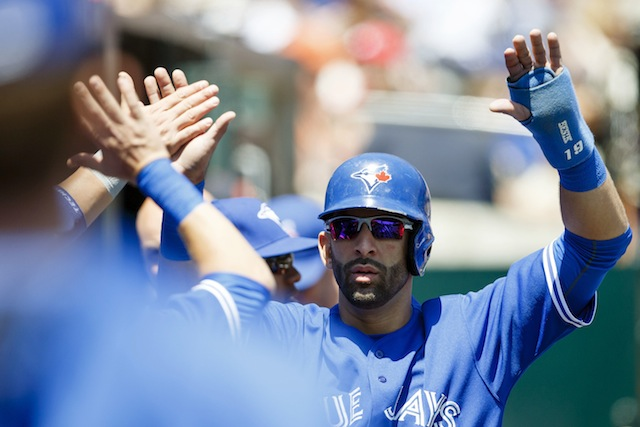 High-fives all around for Jose Bautista, your new AL leading vote-getter! (USATSI)