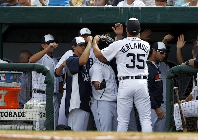 High-fives all around for Justin Verlander after his spring debut. (USATSI)