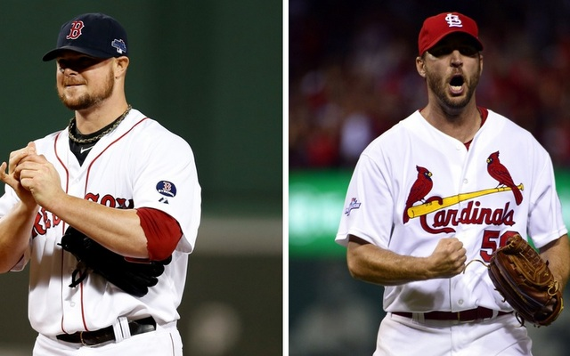 Jon Lester (left) and Adam Wainwright will square off in Game 1