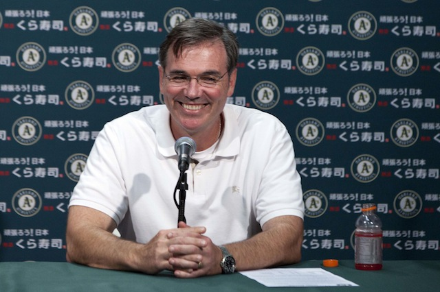 Is Billy Beane already making plans for the trade deadline? (USATSI)