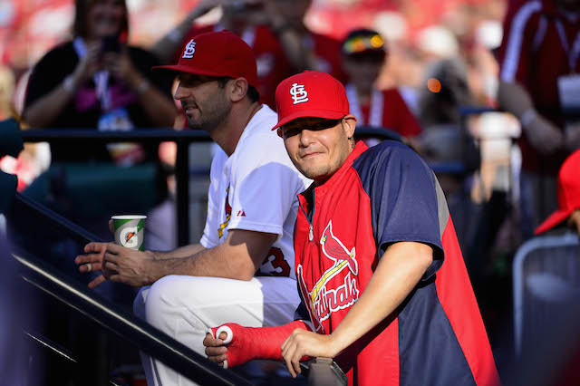 Cardinals catcher Yadier Molina continues to work his way back from injury. (USATSI)