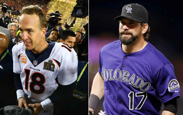Peyton Manning (l.) was briefly Todd Helton's backup quarterback in college.