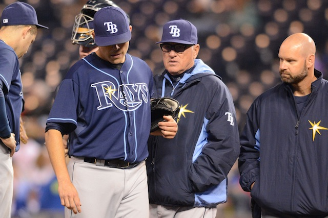 Rays lefty Matt Moore (left) will undergo Tommy John surgery and miss the rest of 2014. (USATSI)