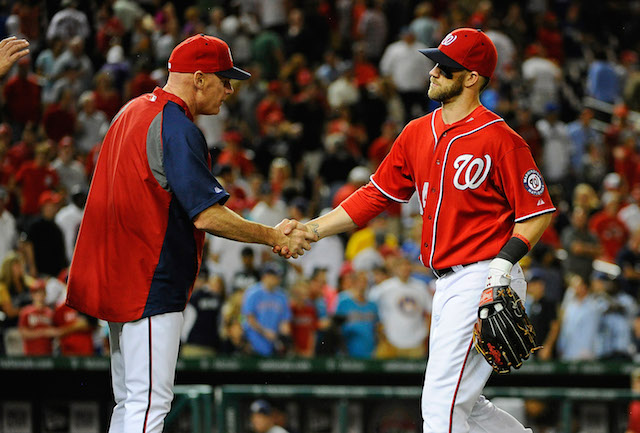 To hear Matt Williams tell it, the talk about Bryce Harper going to the minors is just that -- talk. (USATSI)