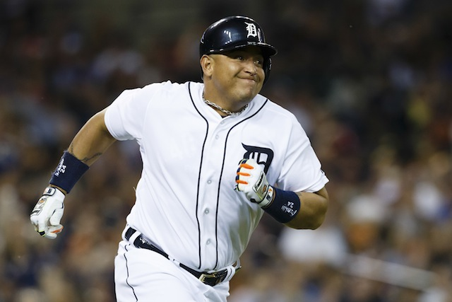 A tight left hamstring forced Miguel Cabrera from Sunday night's game. (USATSI)
