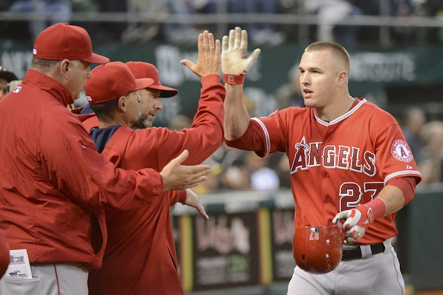 The news on Mike Trout's back calls for high-fives all around. (USATSI)