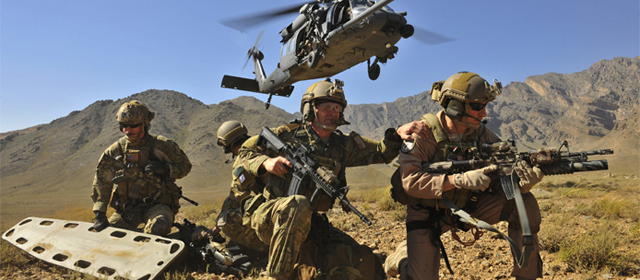 U.S. Air Force Pararescuemen in action.