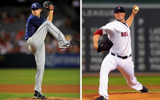 Matt Moore (left) and Jon Lester will open the ALDS on Friday afternoon, weather permitting.