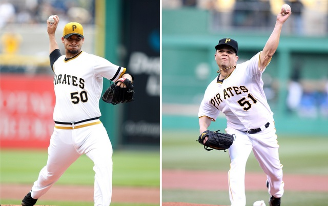 Charlie Morton (left) and Wandy Rodriguez are moving closer to returning to the Pirates rotation.
