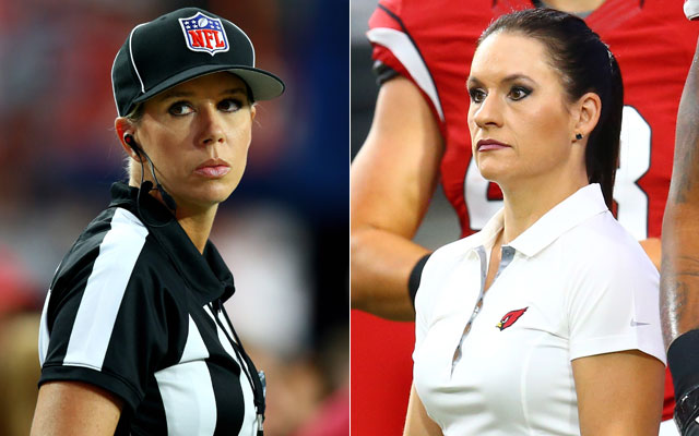 Sarah Thomas and Jen Welter talk before Saturday's preseason game. (USATSI)